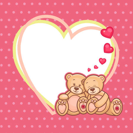 love image: Cute Teddy bears and big heart Illustration