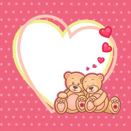 osos de peluche: Cute Teddy bears y gran corazón Vectores