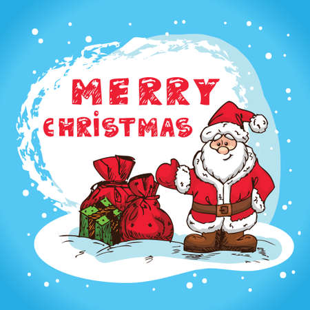 Christmas Illustration With Santa Claus - New Year Postcard In Retro style With Text  - Vector Stock Vector - 16890633