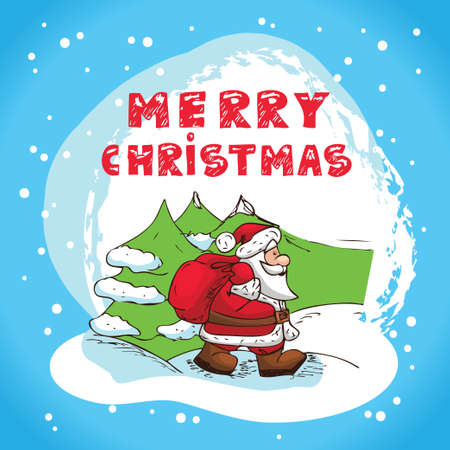Christmas Illustration With Santa Claus - New Year Postcard In Retro style With Text  - Vector  Stock Vector - 16833909