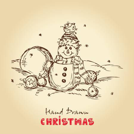 Christmas Hand Drawn Vector Illustration With Snowman And Christmas balls, For Xmas Design  Vector