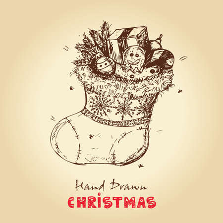 christmas sock: Disegnato a mano di Natale Illustrazione Vettoriale Di Natale Calzino con i regali, per Natale il design Vettoriali