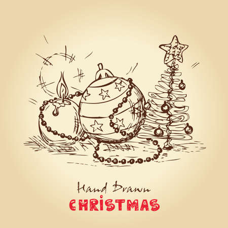 Christmas Hand Drawn Vector Card, For Xmas Design  Vector