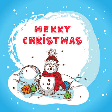Christmas Illustration With Snowman - New Year Postcard In Retro style With Text  - Vector. Stock Vector - 16890634