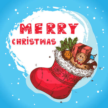 Christmas Hand Drawn Vector Illustration Of Christmas Sock With Gifts, For Xmas Design Stock Vector - 16953112