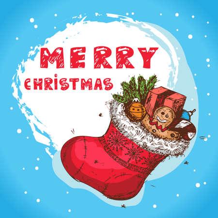 christmas sock: Natale Hand Drawn Illustrazione Vettoriale Di Natale Calza con doni, per la progettazione di Natale Vettoriali