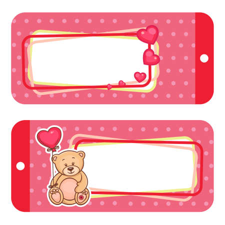 Valentine Gift Tags With Cute Valentine Teddy Bear  Vector