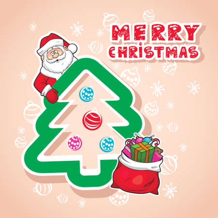 Christmas Illustration With Sticker Santa Claus Vector