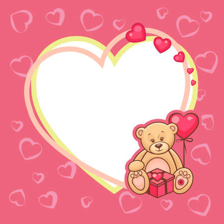 Illustration of Cute Valentine Teddy Bear with sign  Vector