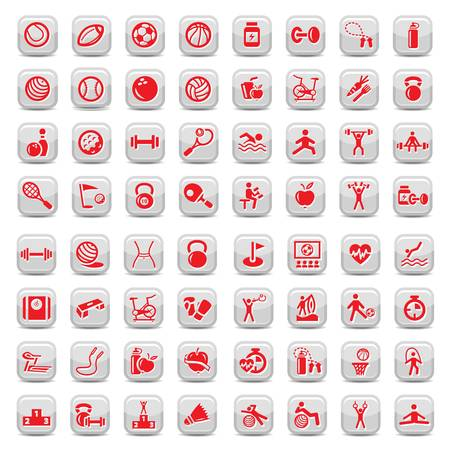 sports application: 64 Fitness and Sport icons for web and mobile  All elements are grouped  Illustration