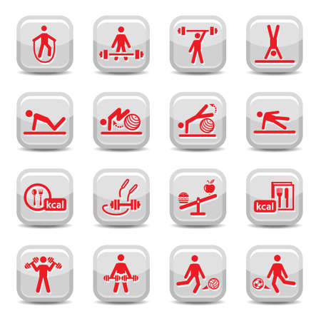 sports application: Fitness and Sport vector icon set for web and mobile  All elements are grouped