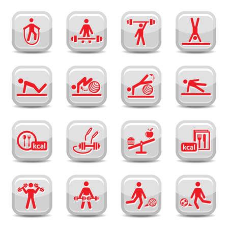 Fitness en sport vector icon set voor web en mobiele Alle elementen worden gegroepeerd