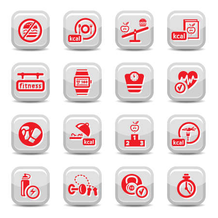 Fitness and Diet vector icon set for web and mobile  All elements are grouped