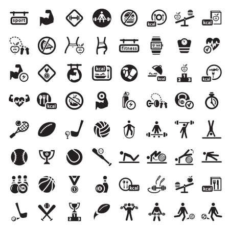 zdraví: 64 Fitness a sport vektorových ikon pro web a mobilní. Všechny prvky jsou seskupeny. Ilustrace