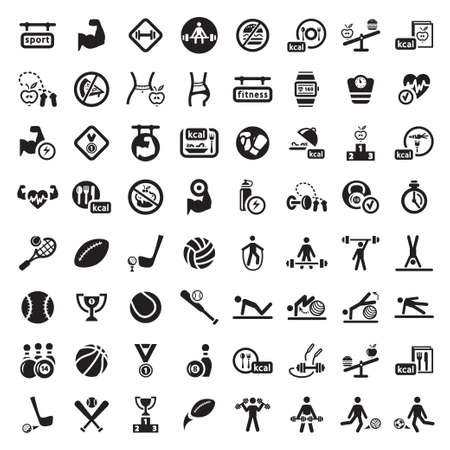 gym: 64 Fitness and Sport vector icons for web and mobile. All elements are grouped.