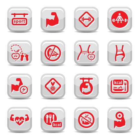 Fitness and bodybuilding icon set for web and mobile. All elements are grouped. Illustration