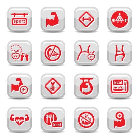 Fitness und Bodybuilding Symbol für Web und mobile gesetzt. Alle Elemente werden gruppiert.