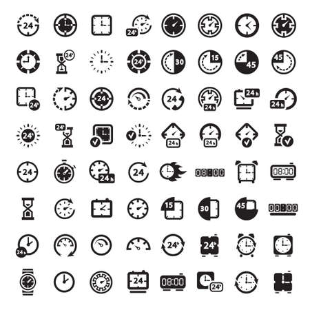 stopwatch: 64 Clock Icon Set for web and mobile  All elements are grouped  Illustration