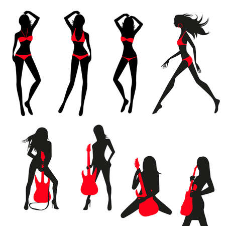 girls in bikini: Set Of Silhouettes Of Slender Girls With Guitars In Bikini