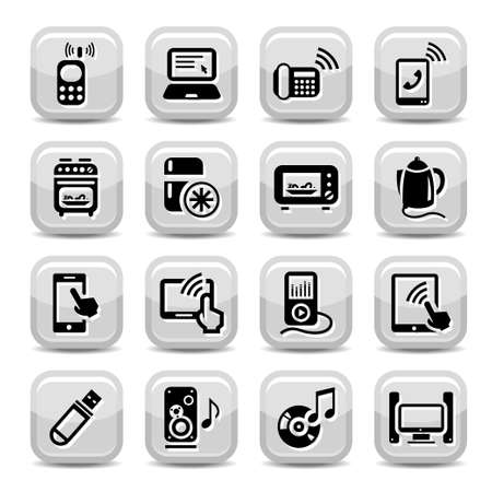 Electronic Devices Icons Set for web and mobile  All elements are grouped  Vector