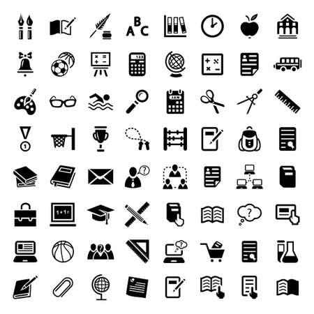 ball pens stationery: 64 Escuela de Educaci�n Vector E Iconos Set para web y m�viles Todos los elementos est�n agrupados Vectores