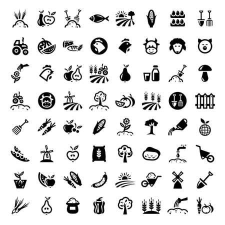 cultivating: Granja Icon Set para web y m�vil Todos los elementos est�n agrupados