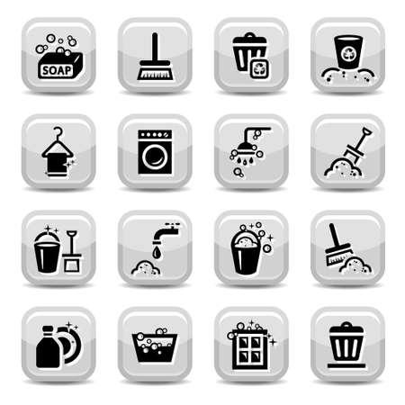 laundry hanger: Icons Set de limpieza para la web Todos los elementos se agrupan Vectores