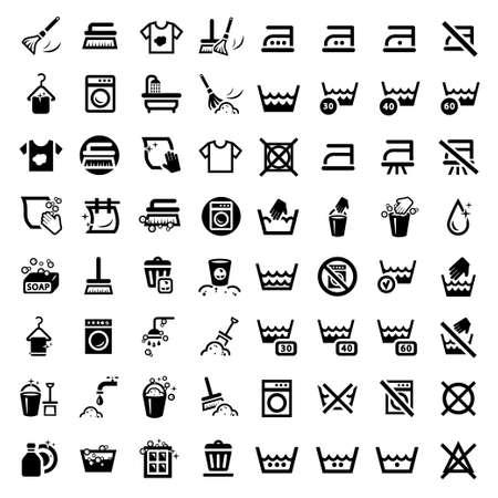 64 Waschen von Wäsche und Icons für Web und mobile Alle Elemente werden gruppiert Illustration