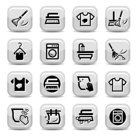 laundry hanger: Cleaning And Washing Icons Set for web and mobile  All elements are grouped