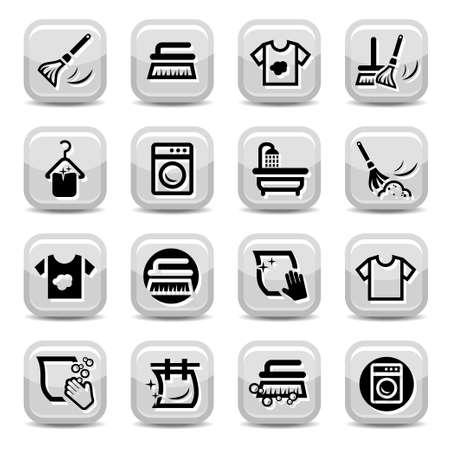 laundry hanger: Limpieza y lavado Icons Set para web y m�viles Todos los elementos se agrupan