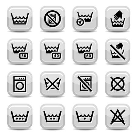instructions: Le icone di lavanderia per il web e tutti gli elementi mobili sono raggruppati Vettoriali