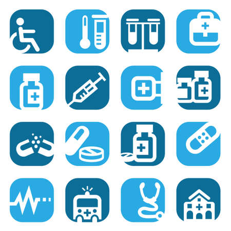 clinical thermometer: Elegant Colorful Medical Icons Set Created For Mobile, Web And Applications