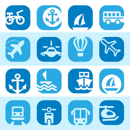 group travel: Elegant Colorful Transportation Icons Set Created For Mobile, Web And Applications  Illustration