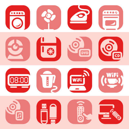 Elegant Colorful Electronic Home Devices Icons Set Created For Mobile, Web And Applications  Vector