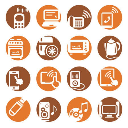 Elegant Colorful Electronic Devices Icons Set Created For Mobile, Web And Applications  Vector