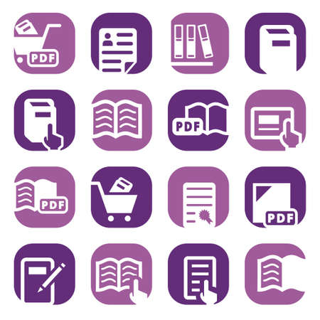 books library: Elegant Colorful Books Icons Set Created For Mobile, Web And Applications  Illustration