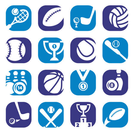 Elegant Colorful Sports Icons Set Created For Mobile, Web And Applications  Vector