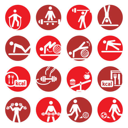 Elegant Colorful Fitness And Sport Icons Set Created For Mobile, Web And Applications  Vector