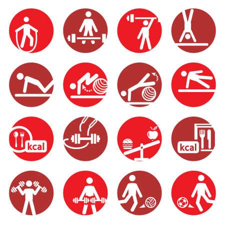 Elegantes buntes Fit-und Sport Icons Set Erstellt For Mobile, Web und Anwendungen