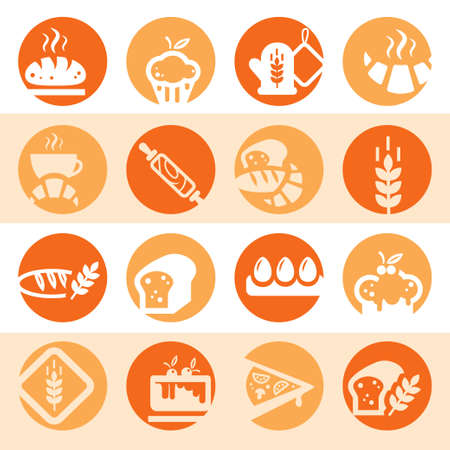 Elegant Colorful Bakery Icons Set Created For Mobile, Web And Applications  Vector