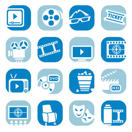 cine: Elegant Colorful  inema Icons Set Created For Mobile, Web And Applications