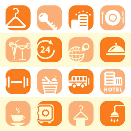 fish spa: Elegant Colorful Hotel Business Icons Set Created For Mobile, Web And Applications