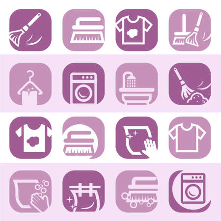 rag: Elegant Colorful Cleaning And Washing Icons Set Created For Mobile, Web And Applications  Illustration