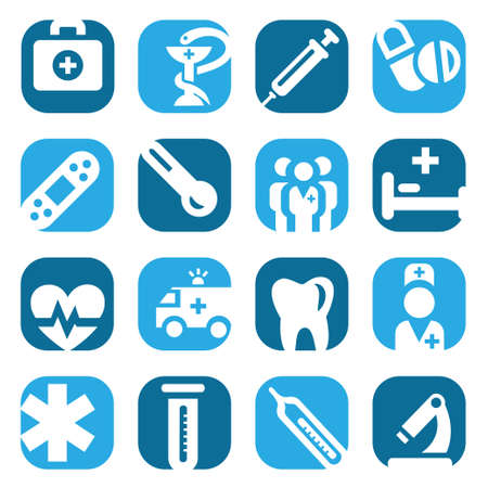 Elegant Colorful Medical Icons Set Created For Mobile, Web And Applications