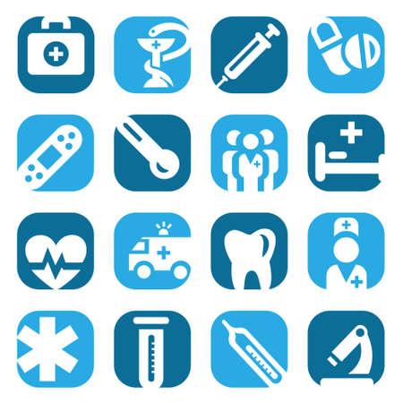 equipos medicos: Elegantes Iconos Médicos colorido conjunto creado para móviles, web y aplicaciones