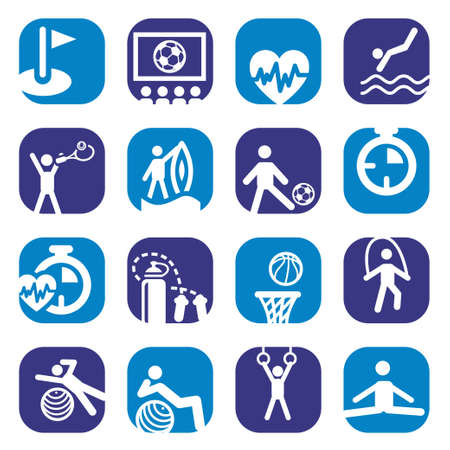 Elegant Colorful Fitness Icons Set Created For Mobile, Web And Applications  Vector