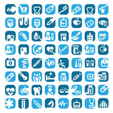 의학: 64 큰 다채로운 의료 아이콘 모바일, 웹 및 응용 프로그램에 대한 제작 설정 일러스트