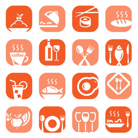continental food: Elegant Colorful Restaurant Icons Set Created For Mobile, Web And Applications  Illustration