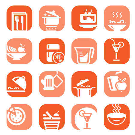 Elegant Colorful Food Icons Set Created For Mobile, Web And Applications  Vector