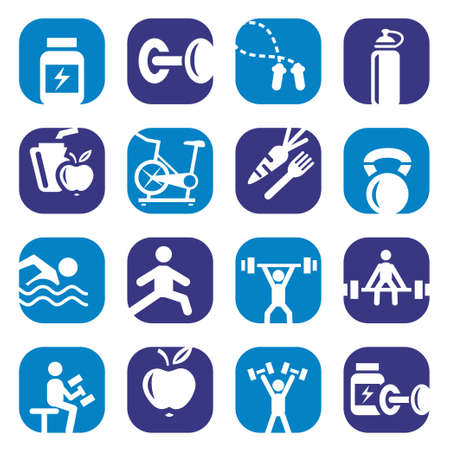 Elegant Colorful Fitness Icons Set Created For Mobile, Web And Applications